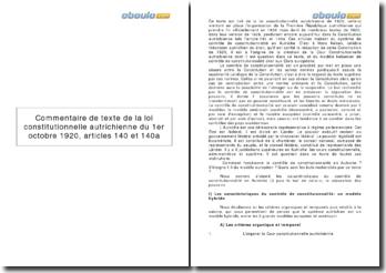 Commentaire de texte de la loi constitutionnelle autrichienne du 1er octobre 1920, articles 140 et 140a