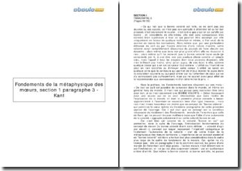 Fondements de la métaphysique des moeurs, section 1 paragraphe 3 - Kant