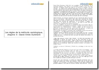 Les règles de la méthode sociologique, chapitre II - David Emile Durkheim