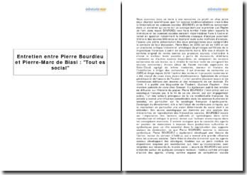 Entretien entre Pierre Bourdieu et Pierre-Marc de Biasi : Tout est social