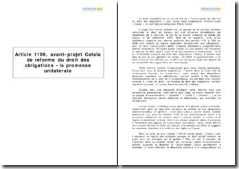 Article 1106, avant-projet Catala de réforme du droit des obligations - la promesse unilatérale