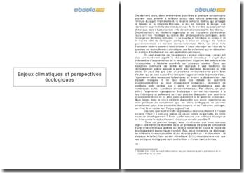 Les enjeux climatiques et les perspectives écologiques (2010)