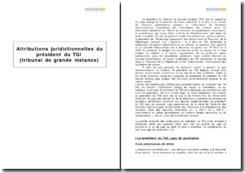 Attributions juridictionnelles du président du TGI (tribunal de grande instance)