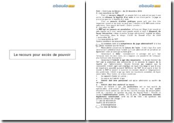 Arrêt « Commune de Béziers » du 28 décembre 2009: Le recours pour excès de pouvoir