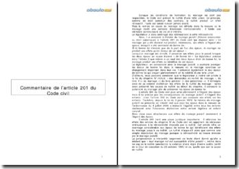 Commentaire de l'article 201 du code civil: une dissolution du mariage plutôt qu'une nullité