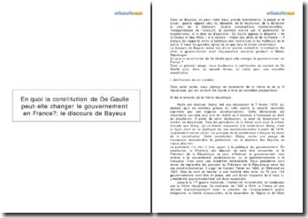 En quoi la constitution de De Gaulle peut-elle changer le gouvernement en France?: le discours de Bayeux
