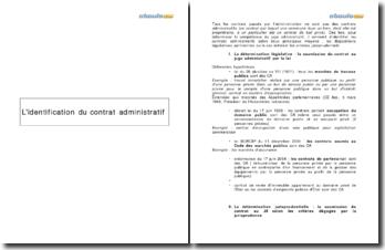 L'identification par étape d'un contrat administratif