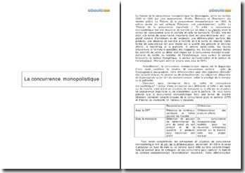 La concurrence monopolistique: une forme de marché aux caractéristiques de la concurrence pure et parfaite (CPP) et d'autres du monopole