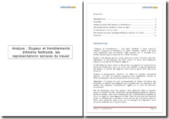 Stupeur et tremblements - Amélie Nothomb: les représentations sociales du travail