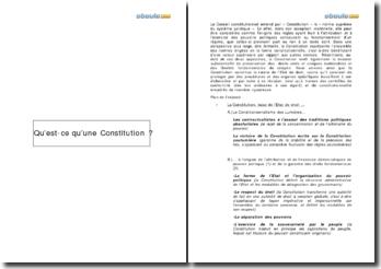 Qu'est-ce qu'une Constitution?