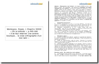 Explication linéaire du chapitre 39 du livre I des Essais de Montaigne
