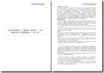 Explication linéaire de La Matrone d'Ephèse, XII, 26 des Fables de La Fontaine