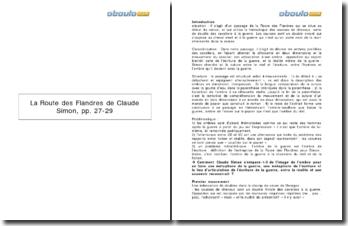 Explication linéaire de La Route des Flandres de Claude Simon: Les cavaliers de l'ombre (p.27-29)