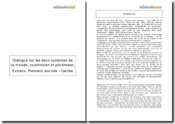 Dialogue sur les deux systèmes de ce monde, copernicien et ptoléméen: extraits de Première Journée - Galilée