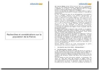 Recherches et considérations sur la population de la France