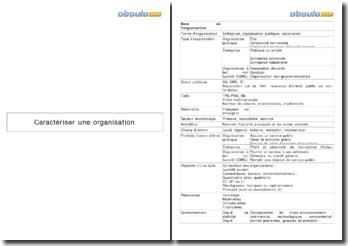 Les critères pour caractériser une organisation