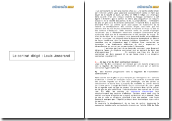 Le contrat dirigé : Louis Josserand