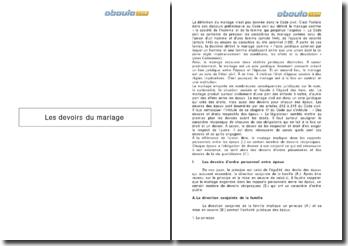 Les devoirs du mariage - communauté de vie, assistance, contribution et secours