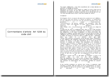 Commentaire d'article : Art 1238 du Code civil