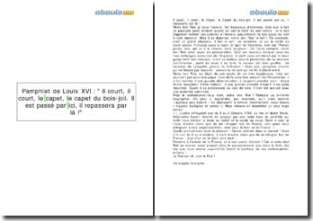 Pamphlet de Louix XVI : Il court, il court, le capet, le capet du bois-joli. Il est passé par ici, il repassera par là !