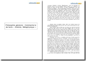 Commentaire de texte : Aristote, Métaphysique, E, 4 (1027 b 18 - 1028 b 5)