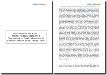 Commentaire de texte : Martin Nadaud, discours à Bourganeuf en 1889, Mémoires de Léonard, maçon de la Creuse, 1898