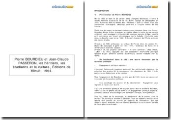 Les héritiers, les étudiants et la culture, 1964 - Pierre Bourdieu et Jean-Claude Passeron
