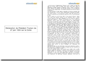 Déclaration du Président Truman du 27 Juin 1950 sur la Corée