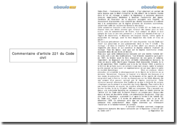 Commentaire de l'article 221 du Code civil