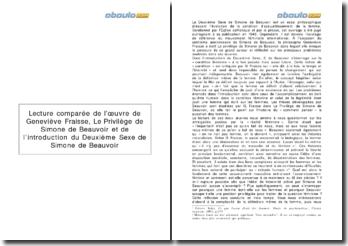 Lecture comparée : Le Privilège de Simone de Beauvoir - Geneviève Fraisse et l'introduction du Deuxième sexe - Simone de Beauvoir