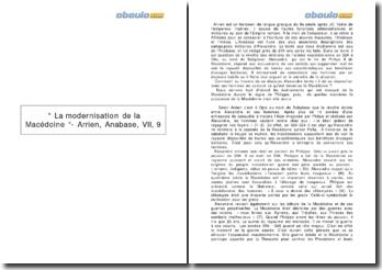 La modernisation de la Macédoine - Arrien, Anabase, VII, 9