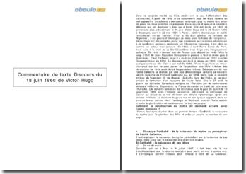 Commentaire de texte : Discours du 18 juin 1860 - Victor Hugo
