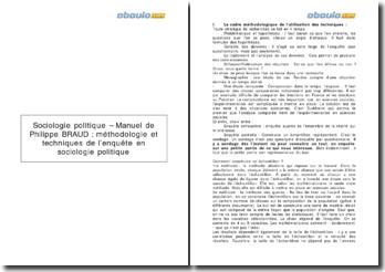 Méthodologie et techniques de l'enquête en sociologie politique - Manuel de Philippe Braud