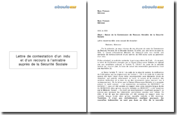Lettre de contestation d'un indu et un recours à l'amiable auprès de la Sécurité Sociale