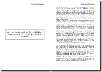 La reconnaissance de la répudiation prononcée à l'étranger par le droit français