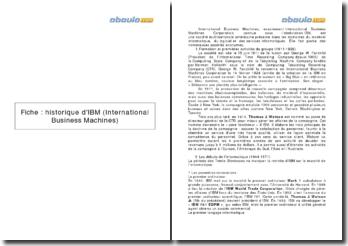 Fiche : l'historique d'IBM (International Business Machines)