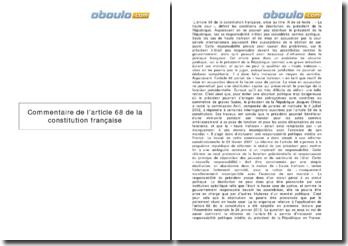 Commentaire de l'article 68 de la Constitution française