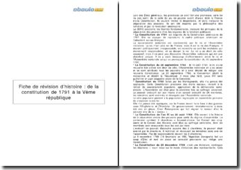 De la Constitution de 1791 à la Vème République