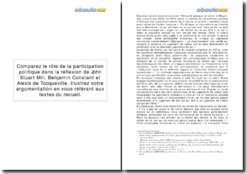 Comparaison du rôle de la participation politique dans la réflexion de John Stuart Mill, Benjamin Constant et Alexis de Tocqueville