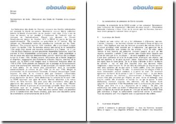 Quel est le contenu de la Déclaration des Droits de l'Homme et du Citoyen et quelles orientations constitutionnelles fixe-t-elle ?