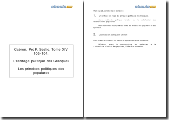 Cicéron, Pro P. Sestio, Tome XIV, 103-104: L'héritage politique des Gracques