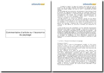 Analyse économiques du paysage; chapitre 2 - Walid Oueslati