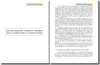 Cour de cassation, troisième Chambre civile, 2 juillet 2003: le contrat de bail
