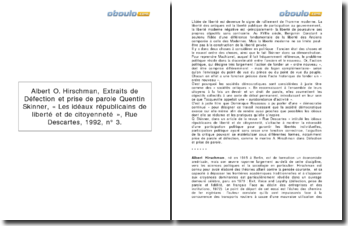 Commentaire de textes: Défection et prise de parole - Albert O. Hirschman et Les idéaux républicains de liberté et de citoyenneté - Quentin Skinner