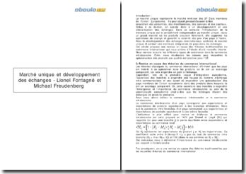 Marché unique et développement des échanges - Lionel Fontagné et Michael Freudenberg