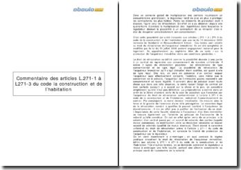 Commentaire des articles L.271-1 à L271-3 du Code la construction et de l'habitation