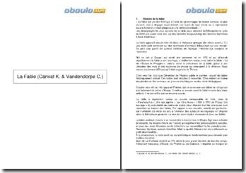 La Fable - Canvat K. & Vandendorpe C.