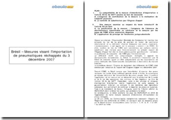 Brésil: Les mesures visant l'importation de pneumatiques rechapés du 3 décembre 2007