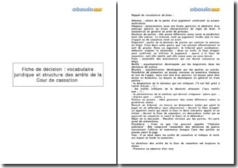 Fiche de décision : le vocabulaire juridique et la structure des arrêts de la Cour de cassation