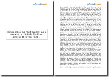 L'édit de Moulins - Charles IX, février 1566: l'édit général sur le domaine